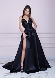 BLACK Long Sequin And Duchesse Dress