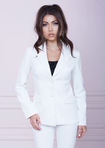 White Single-Breasted Slim Fit Jacket