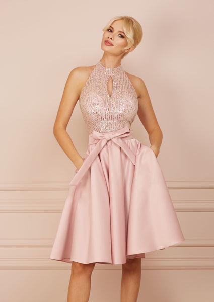 BONBON Light Pink Sequin Midi A-line Dress