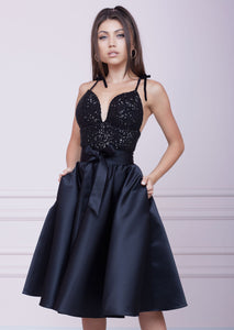 BLACK Sequin Bustier Midi Dress