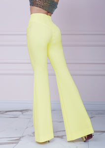Yellow Slim Fit Flared Trousers