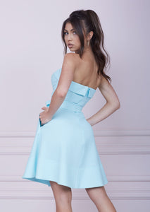 LADY MALLINY AQUA Blue Bustier Midi Dress