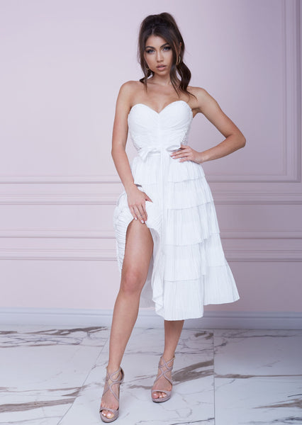 SANTORINI White Bustier Midi Dress
