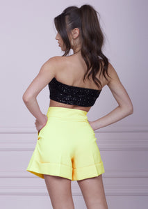 Yellow High Waist Wide Leg Shorts