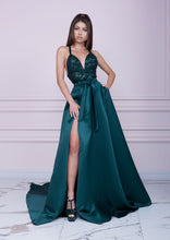 Load image into Gallery viewer, EMERALD GREEN Long Sequin and Duchesse Dress