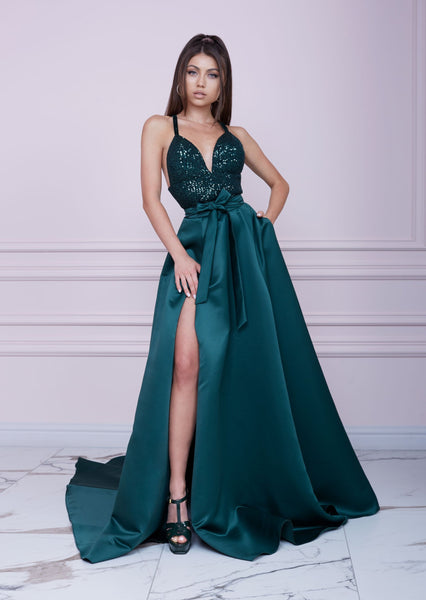 EMERALD GREEN Long Sequin and Duchesse Dress