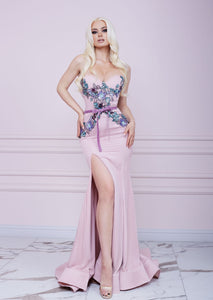 Powder Pink Bustier Godet Long Dress