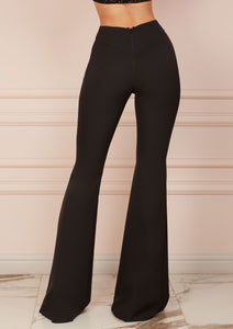Black Slim Fit Flared Trousers