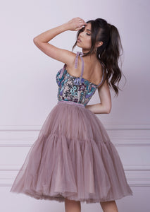 THE ONE Pink Cappuccino Midi Tulle Dress