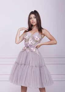 """THE ONE"" Pink Cappuccino Midi Tulle Dress"