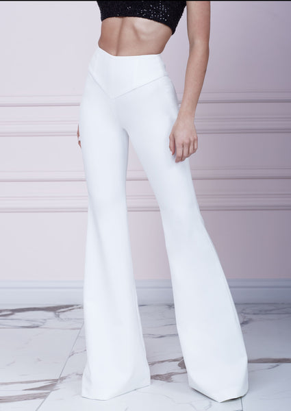 White Slim Fit Flared Trousers
