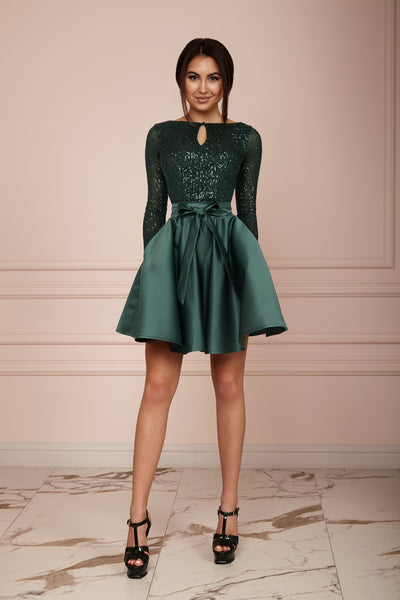 Emerald Green Sequin Midi A-line Dress