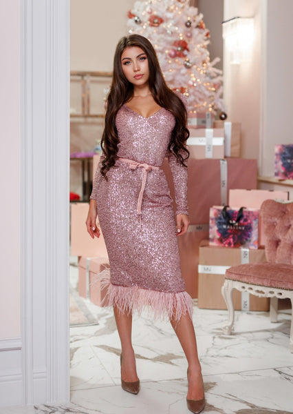 MALLINY ICON Pink Sequin Midi Dress with Long Sleeves