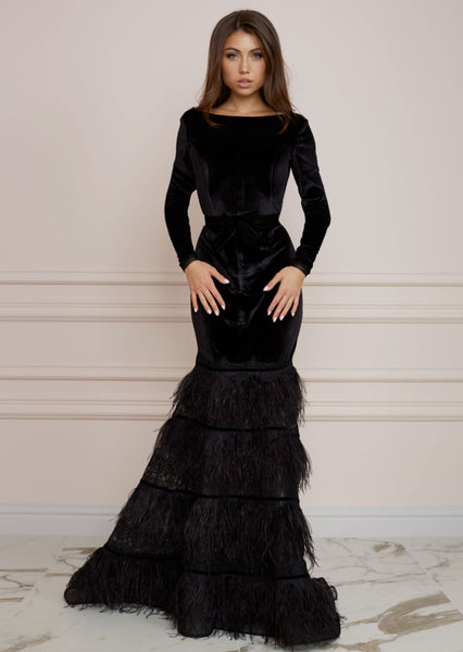 RED CARPET Black Velvet Long Mermaid Dress