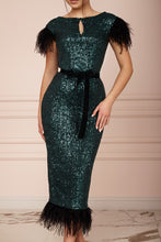 Load image into Gallery viewer, MALLINY ICON Emerald Green Sequin Midi Dress with Black Feathers