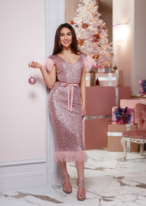 MALLINY ICON Pink Sequin Midi Dress