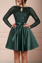 Load image into Gallery viewer, Emerald Green Sequin Midi A-line Dress