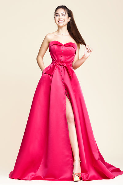 LADY MALLINY Long Fuchsia Dress