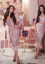 Load image into Gallery viewer, MALLINY ICON Pink Sequin Midi Dress with Long Sleeves