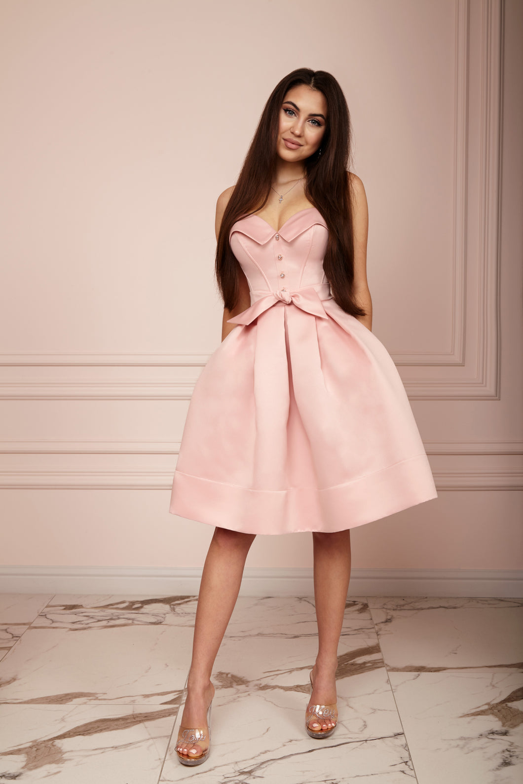 LADY MALLINY Powder Pink Bustier Midi Dress