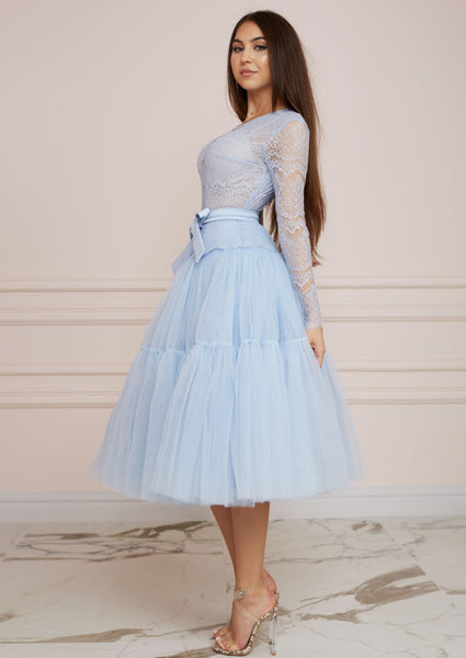 PARIS Baby Blue Lace and Tulle Midi Dress