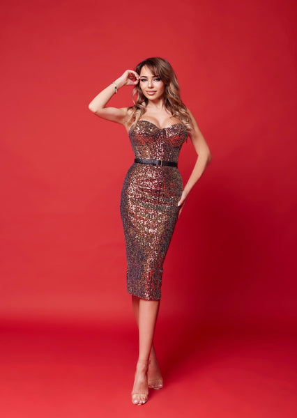 Chameleon Sequins Bustier Midi Dress