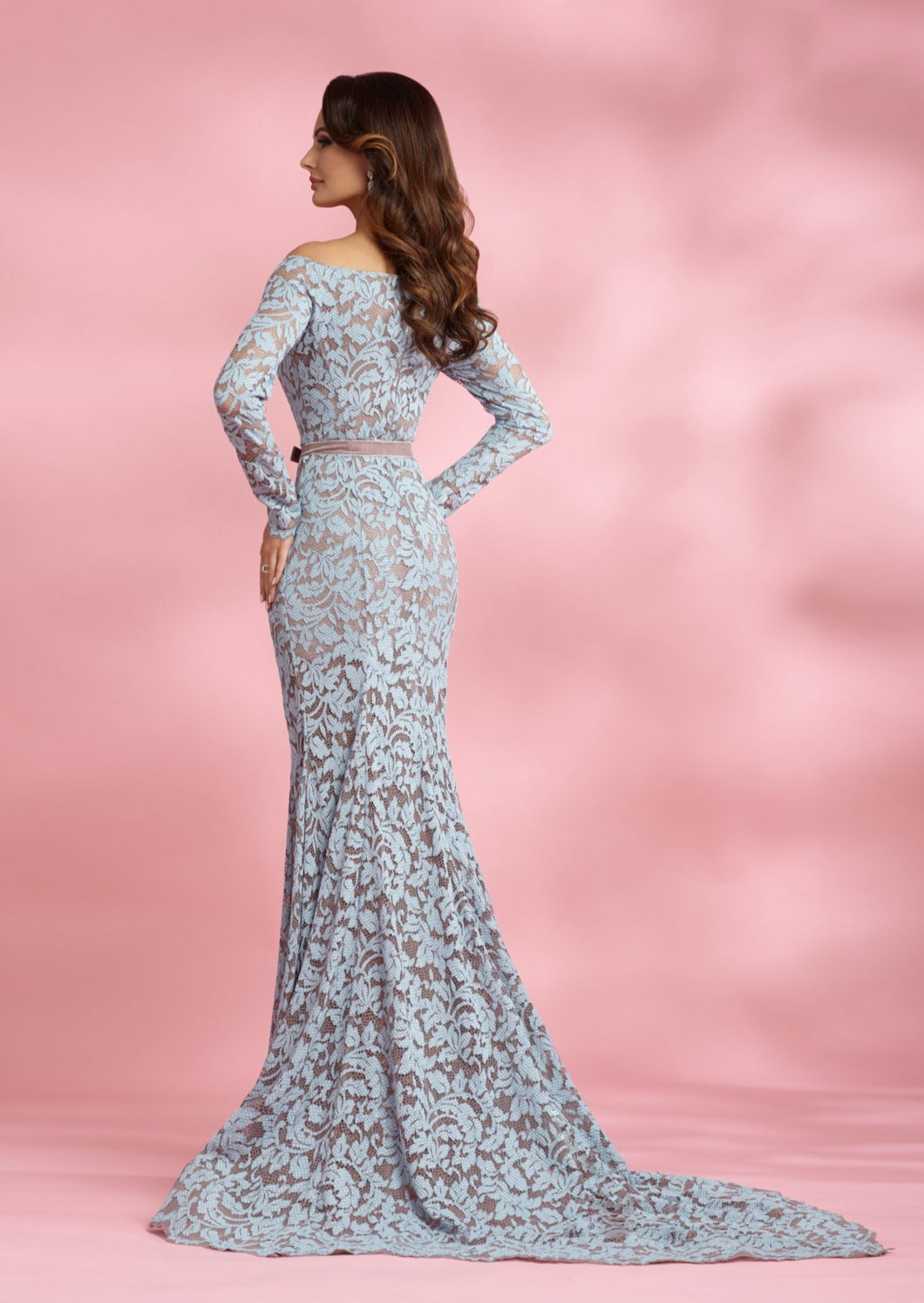Off-the-shoulder Lace Godet Long Train Dress