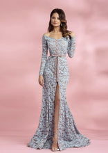 Load image into Gallery viewer, Off-the-shoulder Lace Godet Long Train Dress