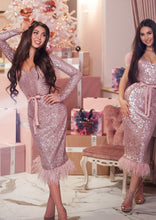 Load image into Gallery viewer, MALLINY ICON Pink Sequin Midi Dress