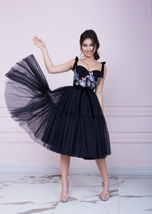 THE ONE Black Midi Tulle Dress