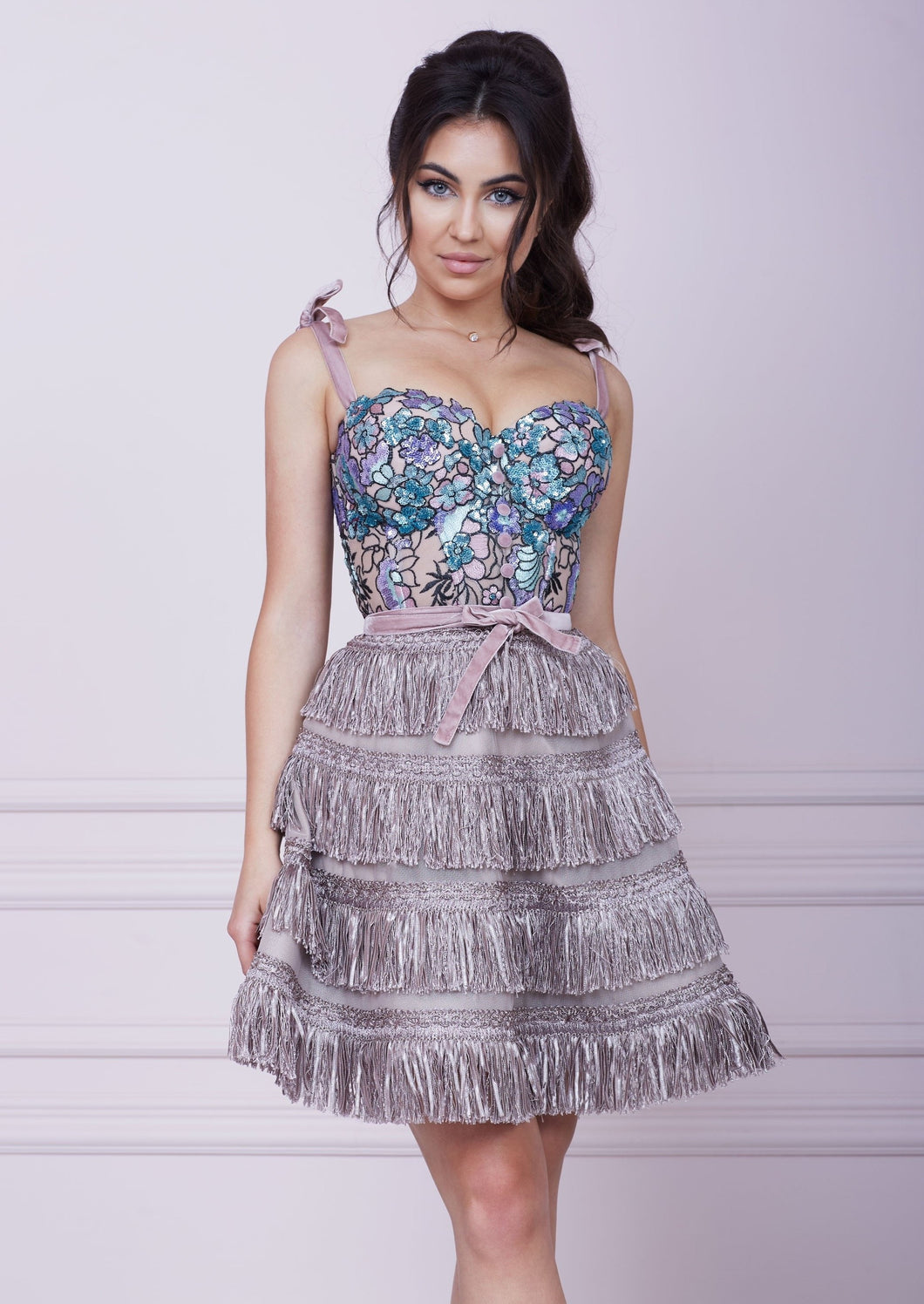 SWEETHEART Pink Cappuccino Bustier Midi Fringe A-line Dress