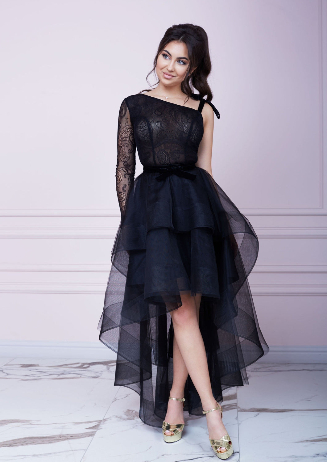 Black Asymmetric Layered Dress