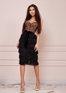 Bustier Sequin Fringe Midi Dress
