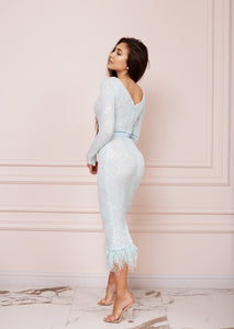 MALLINY ICON Baby Blue Sequin Midi Dress with Feathers Hem
