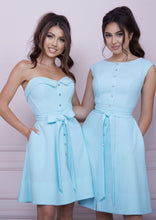 Load image into Gallery viewer, LADY MALLINY AQUA Blue Bustier Midi Dress
