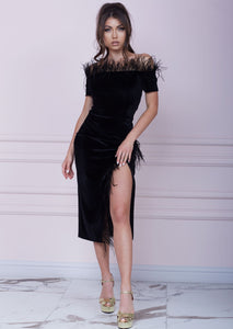 OLD HOLLYWOOD Black Velvet Midi Dress
