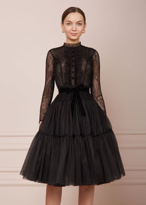 PARIS Black Tulle Midi Dress