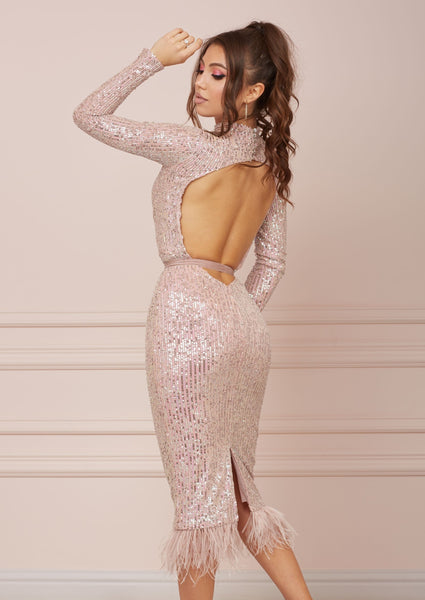 MALLINY ICON Backless Pink Dress