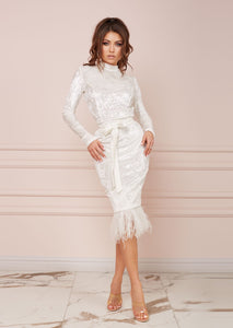 MALLINY ICON Velvet White Dress LIMITED EDITION