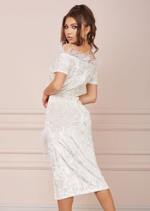 OLD HOLLYWOOD White Velvet Dress LIMITED EDITION