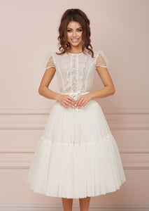 PARIS White Lace & Tulle Dress