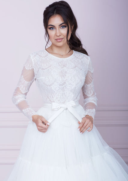PARIS White Lace and Tulle Midi Dress