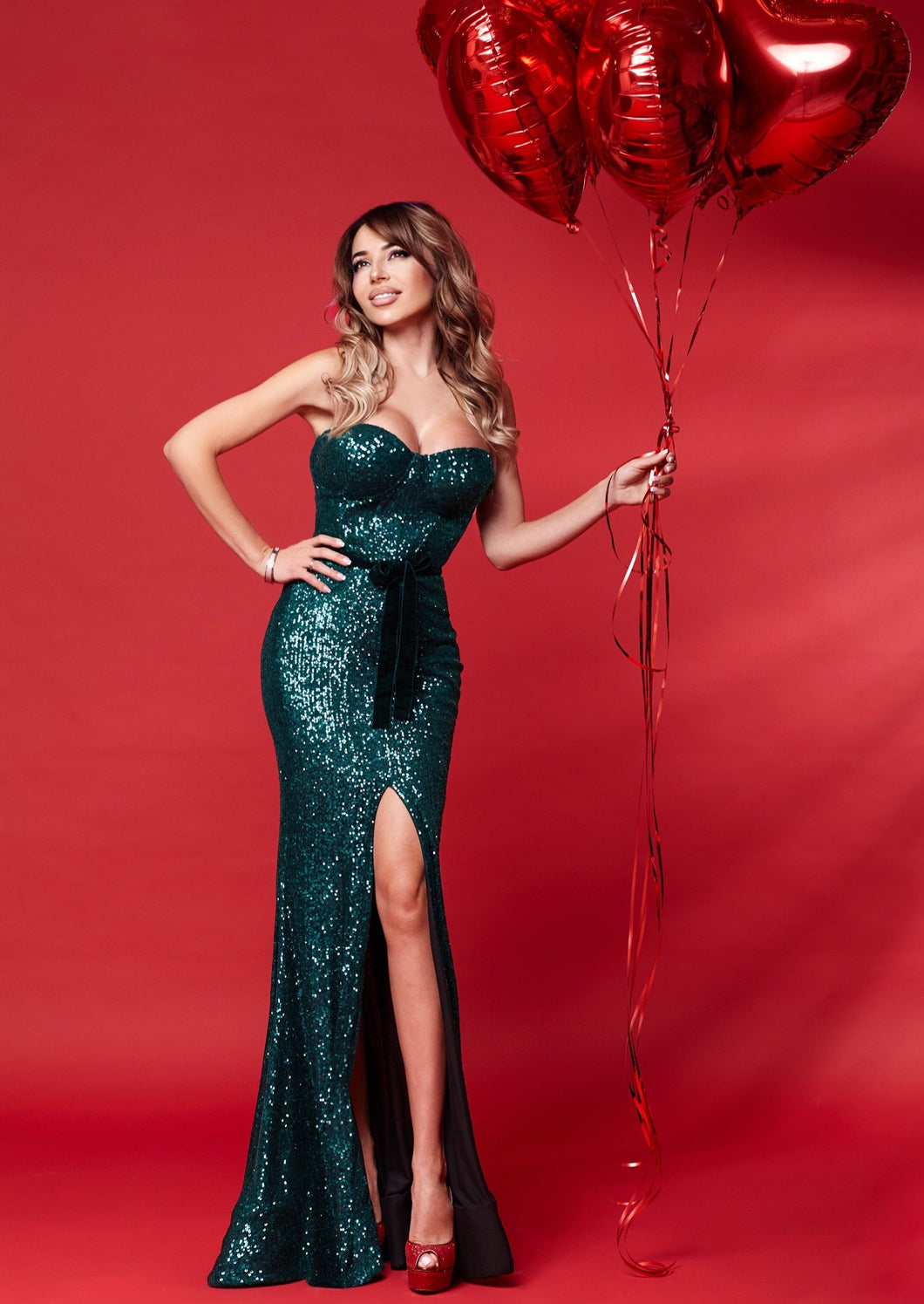 Emerald Green Sequin Long Dress