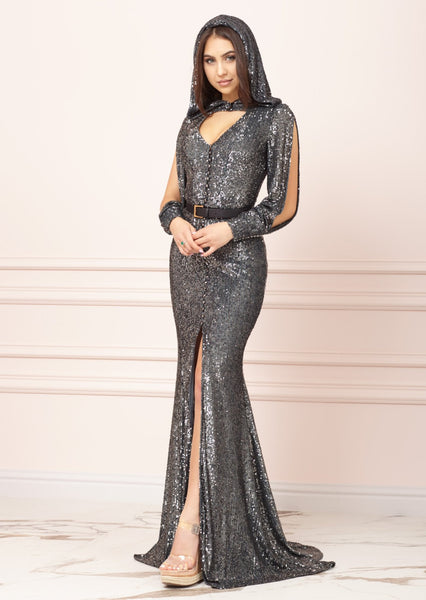 DUBAI Petrol-Blue Sequin Godet Long Dress