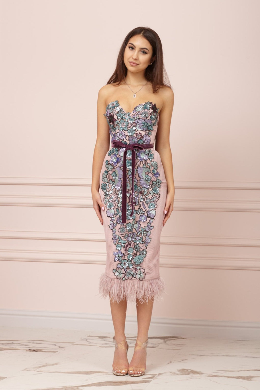 Powder Pink  Bustier Dress With Sequins and Feathers Hem