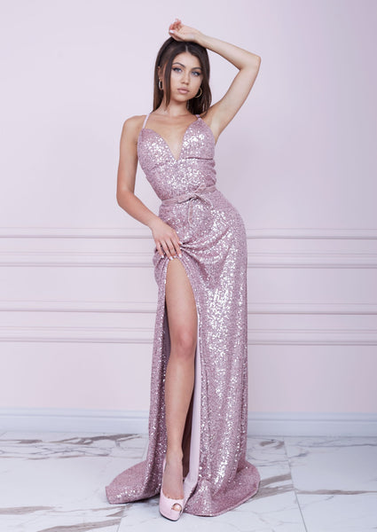 """THE OSCARS"" PINK Sequin Long Dress"