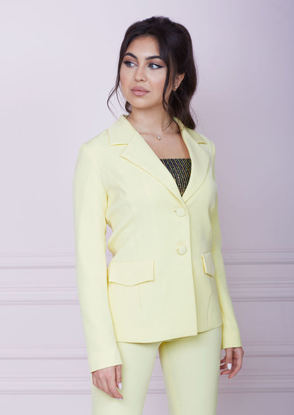 Yellow Single-Breasted Slim Fit Jacket
