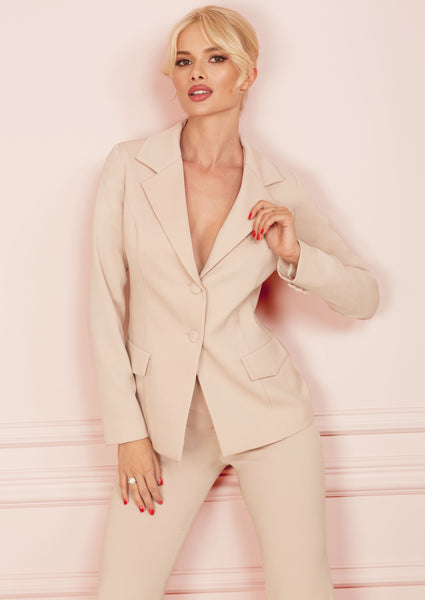 Beige Single-Breasted Slim Fit Jacket