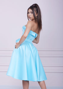 """LADY MALLINY"" AQUA Blue Bustier Midi Dress"