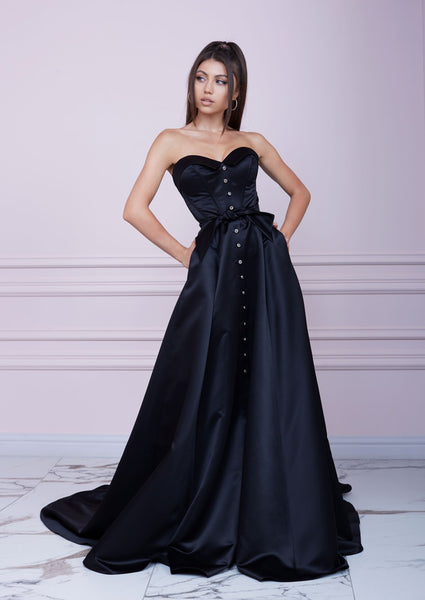 """LADY MALLINY"" Black Long Bustier Dress"